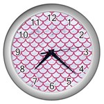 SCALES1 WHITE MARBLE & PINK DENIM (R) Wall Clocks (Silver)  Front