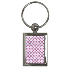 Scales1 White Marble & Pink Denim (r) Key Chains (rectangle)