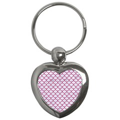 Scales1 White Marble & Pink Denim (r) Key Chains (heart)  by trendistuff