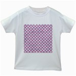 SCALES1 WHITE MARBLE & PINK DENIM (R) Kids White T-Shirts Front