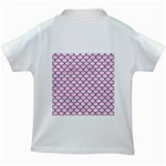SCALES1 WHITE MARBLE & PINK DENIM (R) Kids White T-Shirts Back