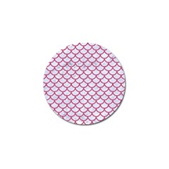 Scales1 White Marble & Pink Denim (r) Golf Ball Marker by trendistuff
