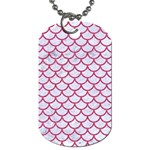 SCALES1 WHITE MARBLE & PINK DENIM (R) Dog Tag (Two Sides) Front