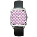SCALES1 WHITE MARBLE & PINK DENIM (R) Square Metal Watch Front