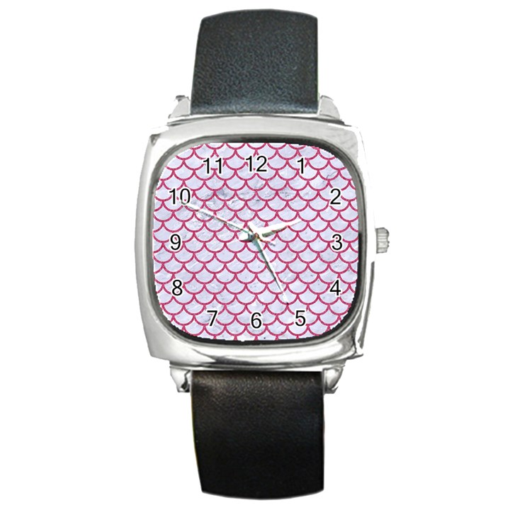 SCALES1 WHITE MARBLE & PINK DENIM (R) Square Metal Watch