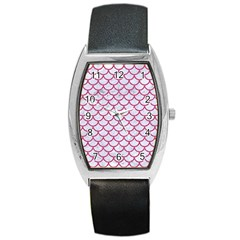 Scales1 White Marble & Pink Denim (r) Barrel Style Metal Watch