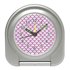Scales1 White Marble & Pink Denim (r) Travel Alarm Clocks