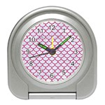 SCALES1 WHITE MARBLE & PINK DENIM (R) Travel Alarm Clocks Front