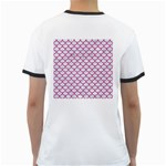 SCALES1 WHITE MARBLE & PINK DENIM (R) Ringer T-Shirts Back