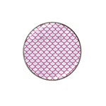 SCALES1 WHITE MARBLE & PINK DENIM (R) Hat Clip Ball Marker (4 pack) Front