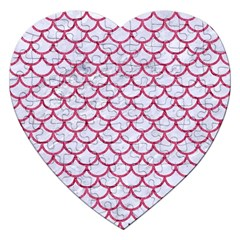 Scales1 White Marble & Pink Denim (r) Jigsaw Puzzle (heart) by trendistuff