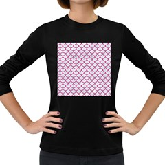 Scales1 White Marble & Pink Denim (r) Women s Long Sleeve Dark T Shirts by trendistuff