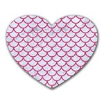 SCALES1 WHITE MARBLE & PINK DENIM (R) Heart Mousepads Front