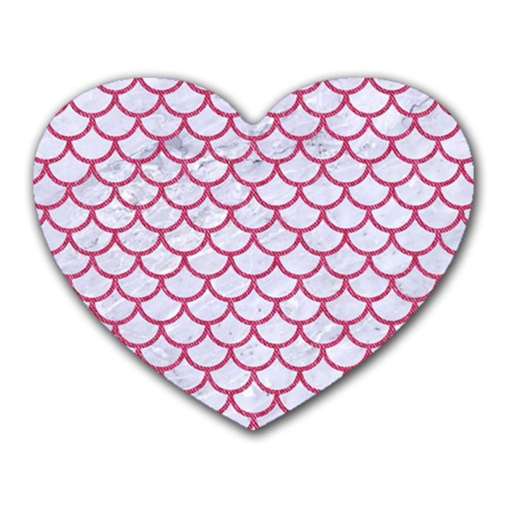 SCALES1 WHITE MARBLE & PINK DENIM (R) Heart Mousepads
