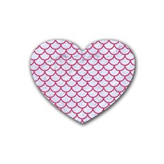 Scales1 White Marble & Pink Denim (r) Rubber Coaster (heart)  by trendistuff