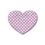 SCALES1 WHITE MARBLE & PINK DENIM (R) Heart Coaster (4 pack)  Front