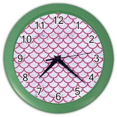 Scales1 White Marble & Pink Denim (r) Color Wall Clocks