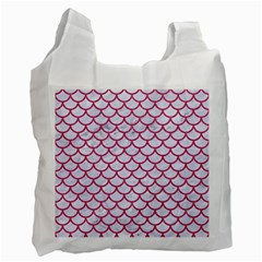 Scales1 White Marble & Pink Denim (r) Recycle Bag (two Side)  by trendistuff