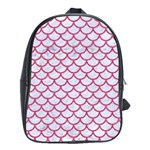 SCALES1 WHITE MARBLE & PINK DENIM (R) School Bag (Large) Front