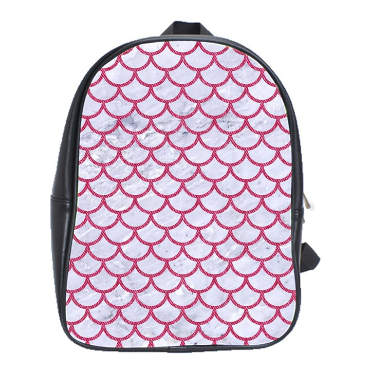 SCALES1 WHITE MARBLE & PINK DENIM (R) School Bag (Large)