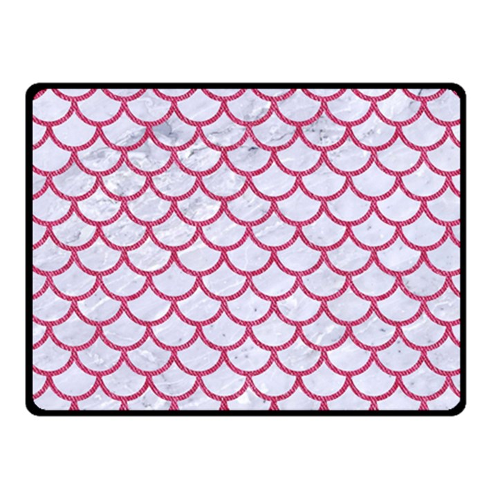 SCALES1 WHITE MARBLE & PINK DENIM (R) Fleece Blanket (Small)