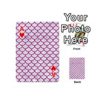 SCALES1 WHITE MARBLE & PINK DENIM (R) Playing Cards 54 (Mini)  Front - HeartA