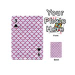SCALES1 WHITE MARBLE & PINK DENIM (R) Playing Cards 54 (Mini)  Front - Spade9