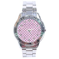 Scales1 White Marble & Pink Denim (r) Stainless Steel Analogue Watch by trendistuff