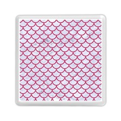Scales1 White Marble & Pink Denim (r) Memory Card Reader (square)  by trendistuff