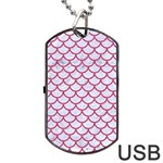 SCALES1 WHITE MARBLE & PINK DENIM (R) Dog Tag USB Flash (One Side) Front