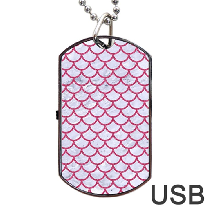 SCALES1 WHITE MARBLE & PINK DENIM (R) Dog Tag USB Flash (One Side)