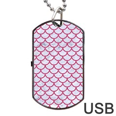 Scales1 White Marble & Pink Denim (r) Dog Tag Usb Flash (two Sides) by trendistuff