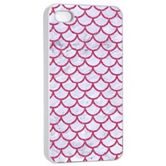 Scales1 White Marble & Pink Denim (r) Apple Iphone 4/4s Seamless Case (white)