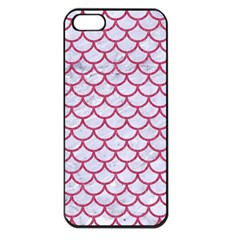 Scales1 White Marble & Pink Denim (r) Apple Iphone 5 Seamless Case (black) by trendistuff
