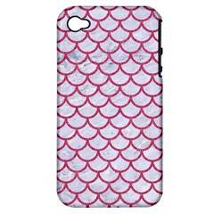 Scales1 White Marble & Pink Denim (r) Apple Iphone 4/4s Hardshell Case (pc+silicone) by trendistuff