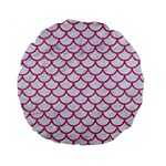 SCALES1 WHITE MARBLE & PINK DENIM (R) Standard 15  Premium Round Cushions Front
