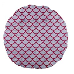 Scales1 White Marble & Pink Denim (r) Large 18  Premium Round Cushions by trendistuff