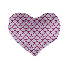 Scales1 White Marble & Pink Denim (r) Standard 16  Premium Heart Shape Cushions by trendistuff