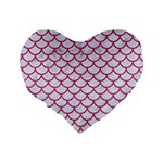 SCALES1 WHITE MARBLE & PINK DENIM (R) Standard 16  Premium Heart Shape Cushions Back