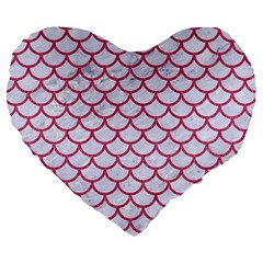 Scales1 White Marble & Pink Denim (r) Large 19  Premium Heart Shape Cushions by trendistuff