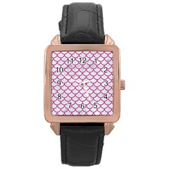 Scales1 White Marble & Pink Denim (r) Rose Gold Leather Watch