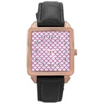 SCALES1 WHITE MARBLE & PINK DENIM (R) Rose Gold Leather Watch  Front