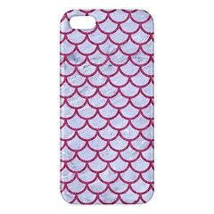 Scales1 White Marble & Pink Denim (r) Apple Iphone 5 Premium Hardshell Case