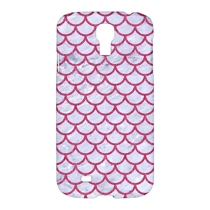 SCALES1 WHITE MARBLE & PINK DENIM (R) Samsung Galaxy S4 I9500/I9505 Hardshell Case