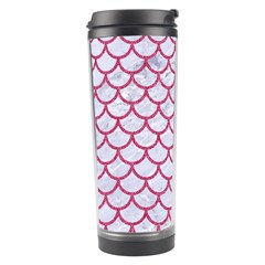Scales1 White Marble & Pink Denim (r) Travel Tumbler by trendistuff