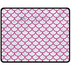 Scales1 White Marble & Pink Denim (r) Double Sided Fleece Blanket (medium)