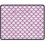 SCALES1 WHITE MARBLE & PINK DENIM (R) Double Sided Fleece Blanket (Medium)  58.8 x47.4 Blanket Front