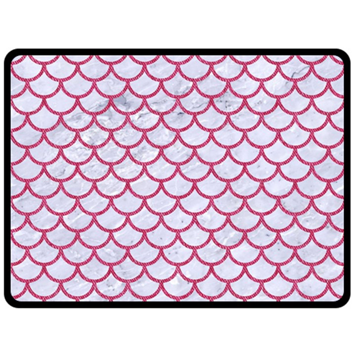 SCALES1 WHITE MARBLE & PINK DENIM (R) Double Sided Fleece Blanket (Large)