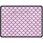 SCALES1 WHITE MARBLE & PINK DENIM (R) Double Sided Fleece Blanket (Large)  80 x60 Blanket Back