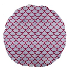 Scales1 White Marble & Pink Denim (r) Large 18  Premium Flano Round Cushions by trendistuff